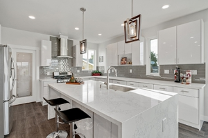 Waterfall countertop in modern kitchen