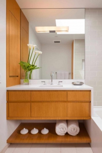 Waterfall countertop in modern bathroom bathroom