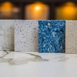 Granite tile samples in granite supplier showroom