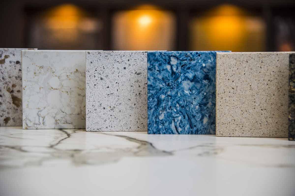 Granite tile samples in granite supplier showroom