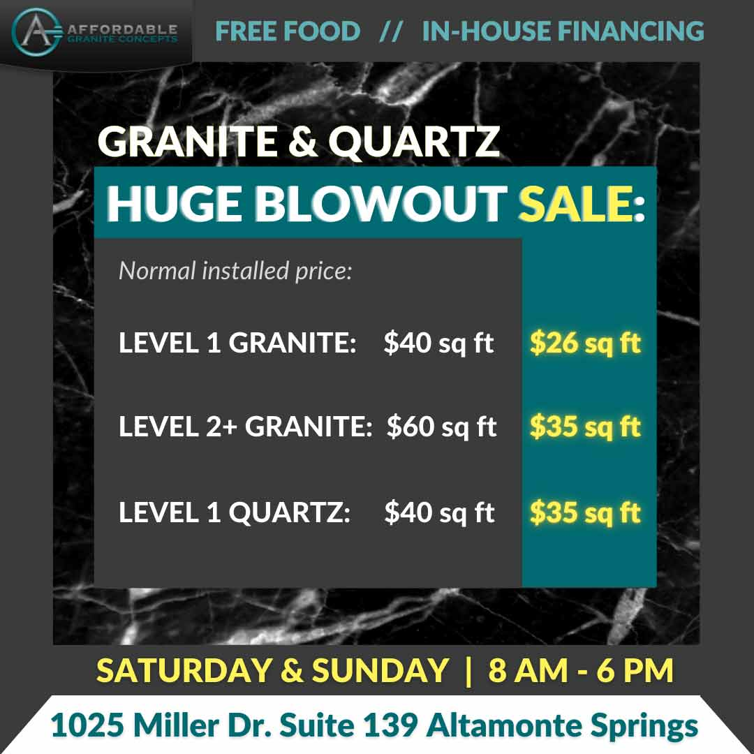 Quartz & granite sales event this weekend February 27 & 28 at Affordable Granite Concepts