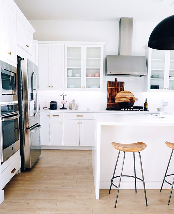this is a straight edge countertop profile. the image shows a kitchen with a white asthetic. The island in the middle uses white granite countertop that extends driectly down the side.